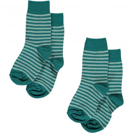 Maxomorra Socken Petrol Stripes - 2er Pack (GOTS)