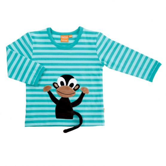 LipFish Kids Shirt Monkey aqua/striped