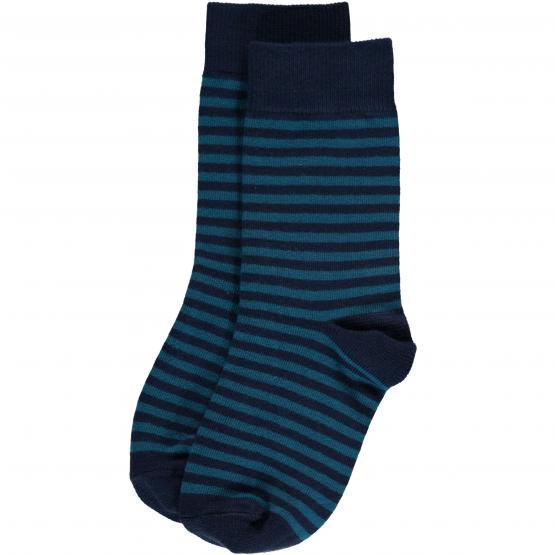 Maxomorra Socken Blue Stripes - 2er Pack (GOTS)