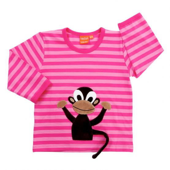 LipFish Kids Shirt Monkey cerise/pink